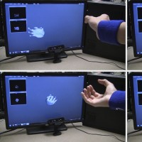 "This series of photos shows the use of a new system, called DeepHand, developed by researchers in Purdue University's C Design Lab. It is capable of ""deep learning"" to understand the hand's nearly endless complexity of joint angles and contortions, an advance that will be needed for future systems that allow people to interact with virtual environments in virtual and augmented reality. (Purdue University image/C Design Lab)"