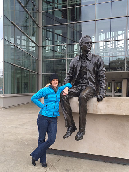 Bolinger, who returns to Purdue's campus on occasion, snapped this picture with the Armstrong statue in 2013.