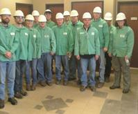 Students in protective gear at Nucor