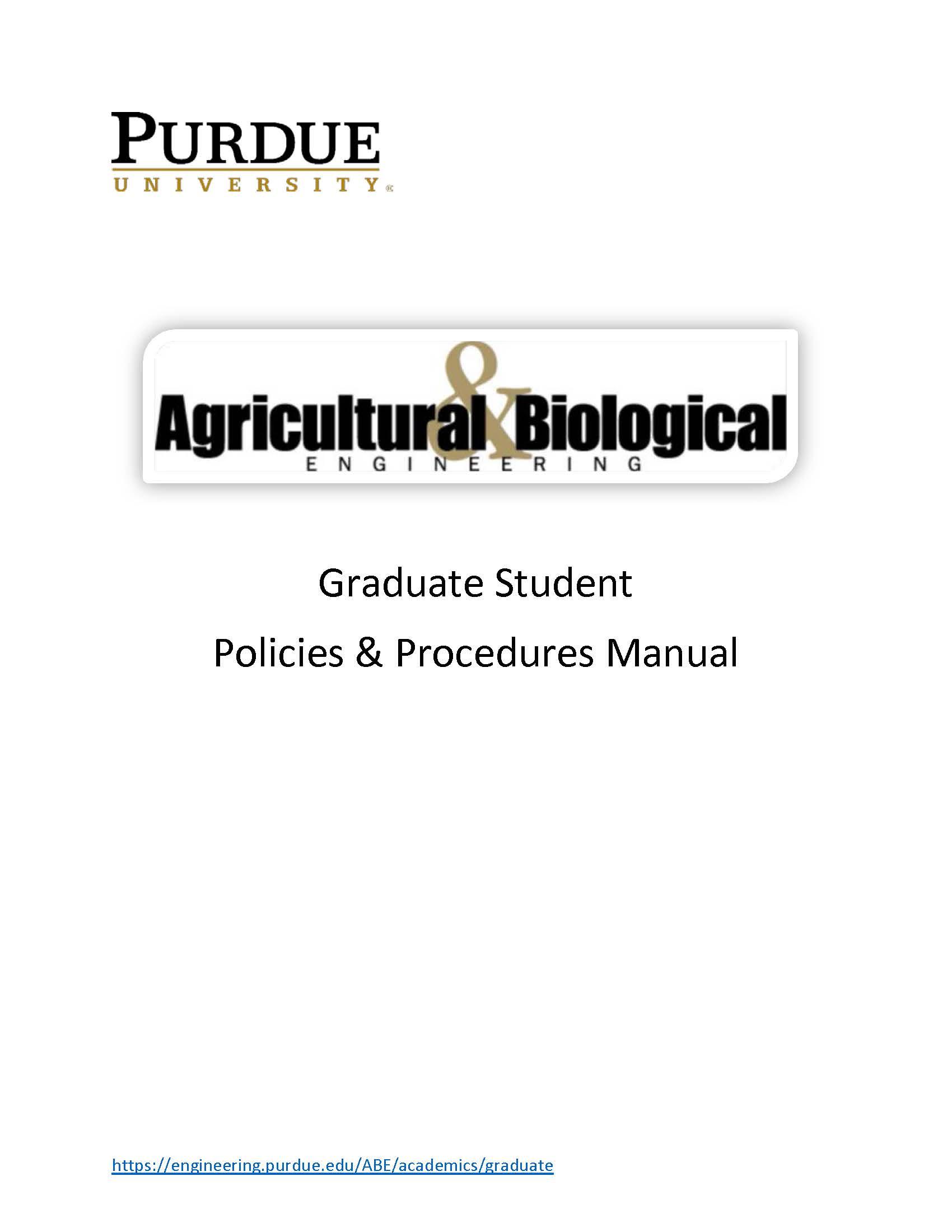 Graduate Student Manual - Agricultural & Biological Engineering - Purdue  University