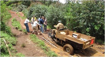 Students demonstrating the Basic Utility Vehicle in Cameroon