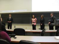 Photograph of senior design team presentation