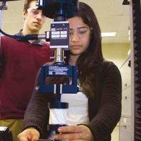 Sagarika Jetley tests the bi-stability of her PCXM design. Gordon Jarrold looks on.