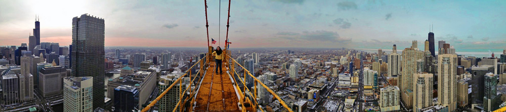CEM Student Allie Sexton on 56 floor high tower crane in Chicago, IL