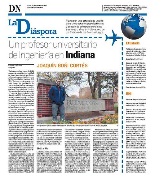 Goni featured in Diario de Navarra