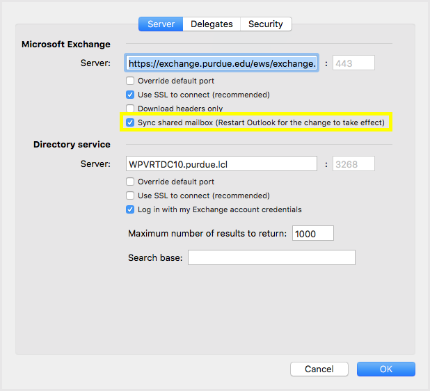 Mac Outlook 2016 Setup for Purdue Exchange email