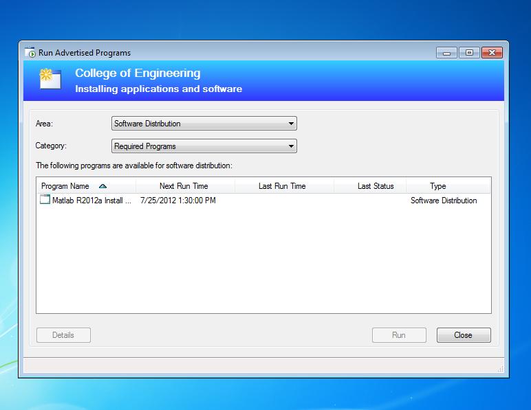 Installing programs using the Run Advertised Programs Option