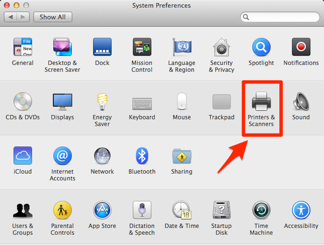 apple system preferences with printers & scanners highlighted