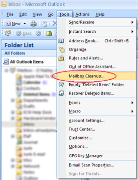 Conserving Space in Outlook 2007 - Engineering Computer