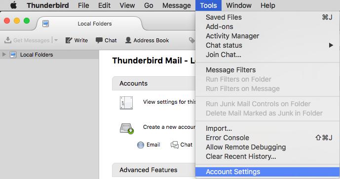 Thunderbird for Mac: Adding ECN SMTP as Outbound Server