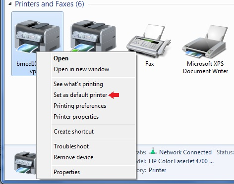 Setting the default printer