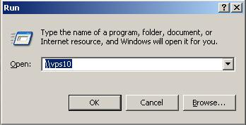 WIndows XP run dialogue