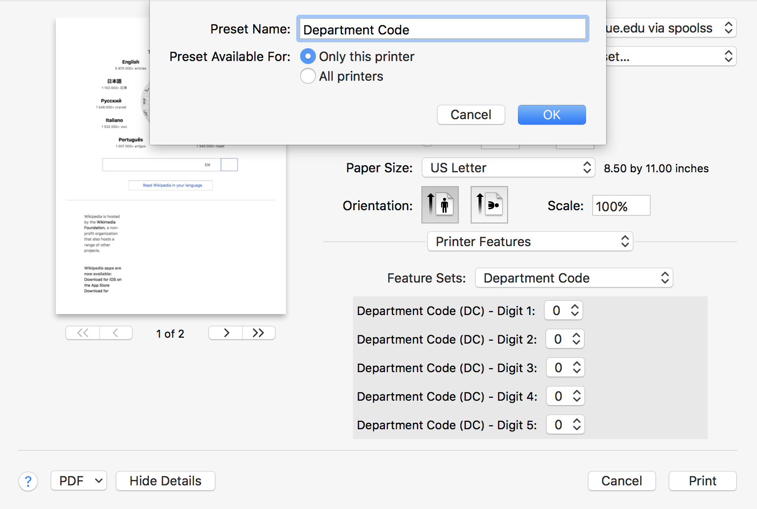 Printing: Job Accounting for Toshiba Printers in MacOS X