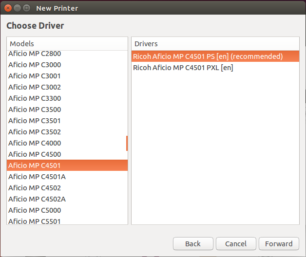 Ubuntu printer driver picker with model and driver highlighted