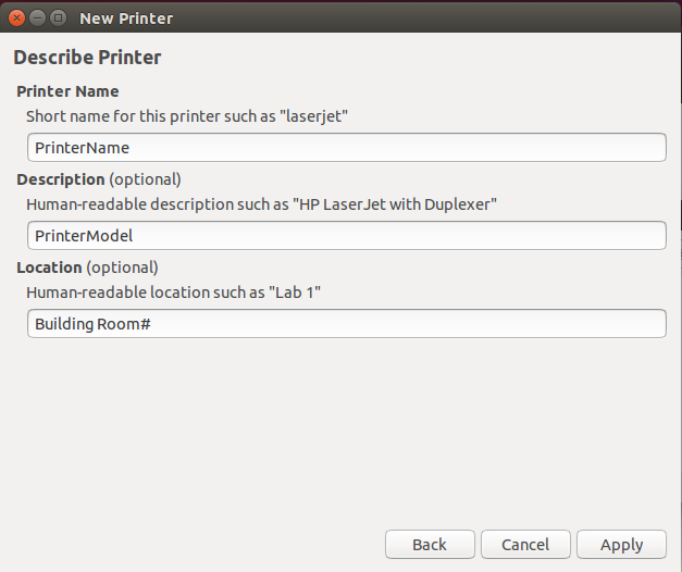 Ubuntu printer description screen