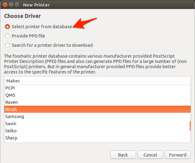 Ubuntu driver selection