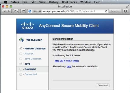WebVPN (Purdue Virtual Private Network) in Mac OS X - Engineering ...