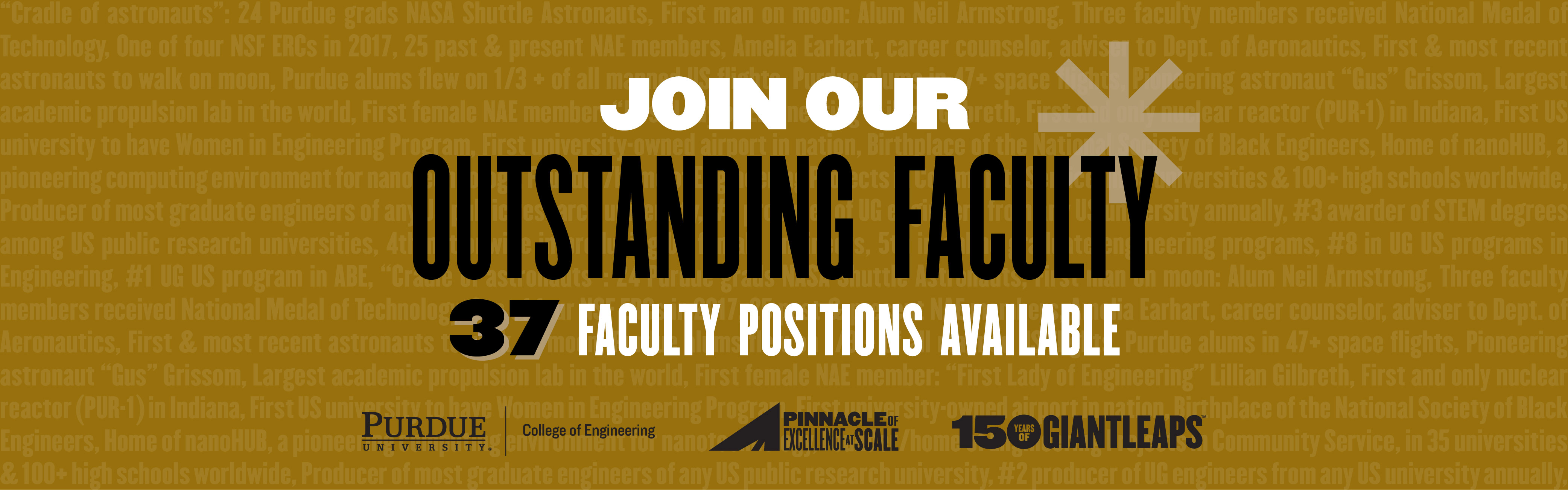 Join our outstanding faculty; 37 faculty positions available.