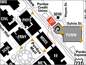 A map taken from the northeastern side of Purdue's campus