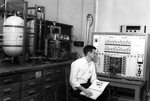 Duncan Mellichamp with analog computer