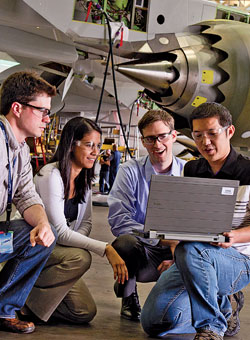 David Loffing (third from left) leads his fellow engineers