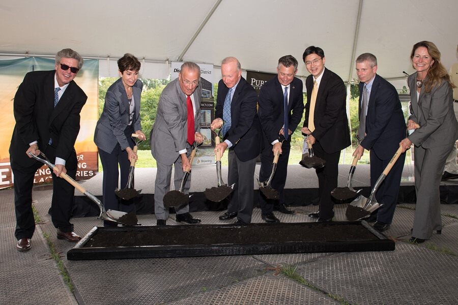 Officials from Schweitzer Engineering Laboratories, Purdue University and Purdue Research Foundation break ground