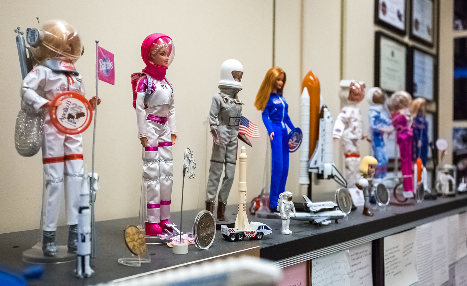 In her office at NASA's Johnson Space Center, Allissa Battocletti maintains a collection of every Astronaut Barbie doll ever made.