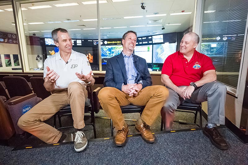 In March, Drew (left) joins Scott Tingle (right) on the International Space Station, with fellow Purdue grad Gary Horlacher (middle) as their Flight Director. Photo courtesy Trevor Mahlmann