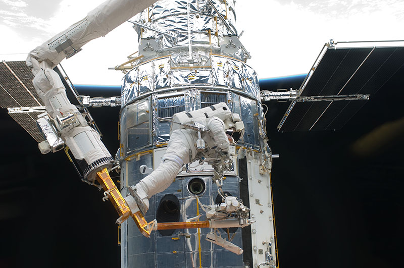 As part of STS-125, Drew embarked on several spacewalks to service the Hubble Space Telescope. Photo courtesy NASA