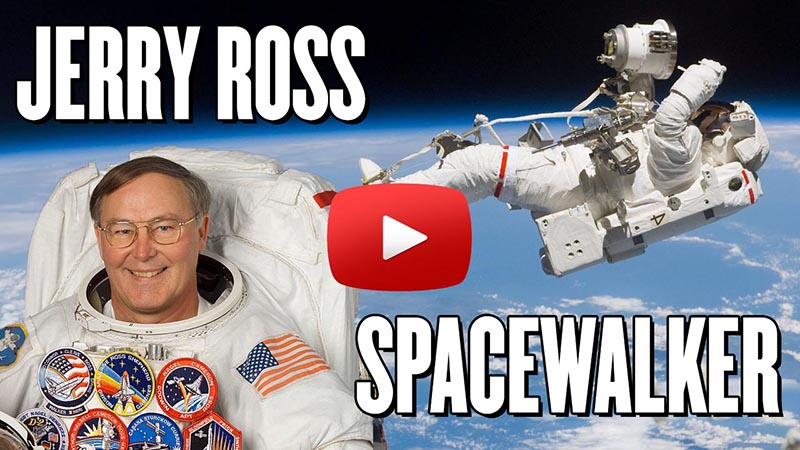 Spacewalker: Purdue Graduate Jerry Ross with Play button on image