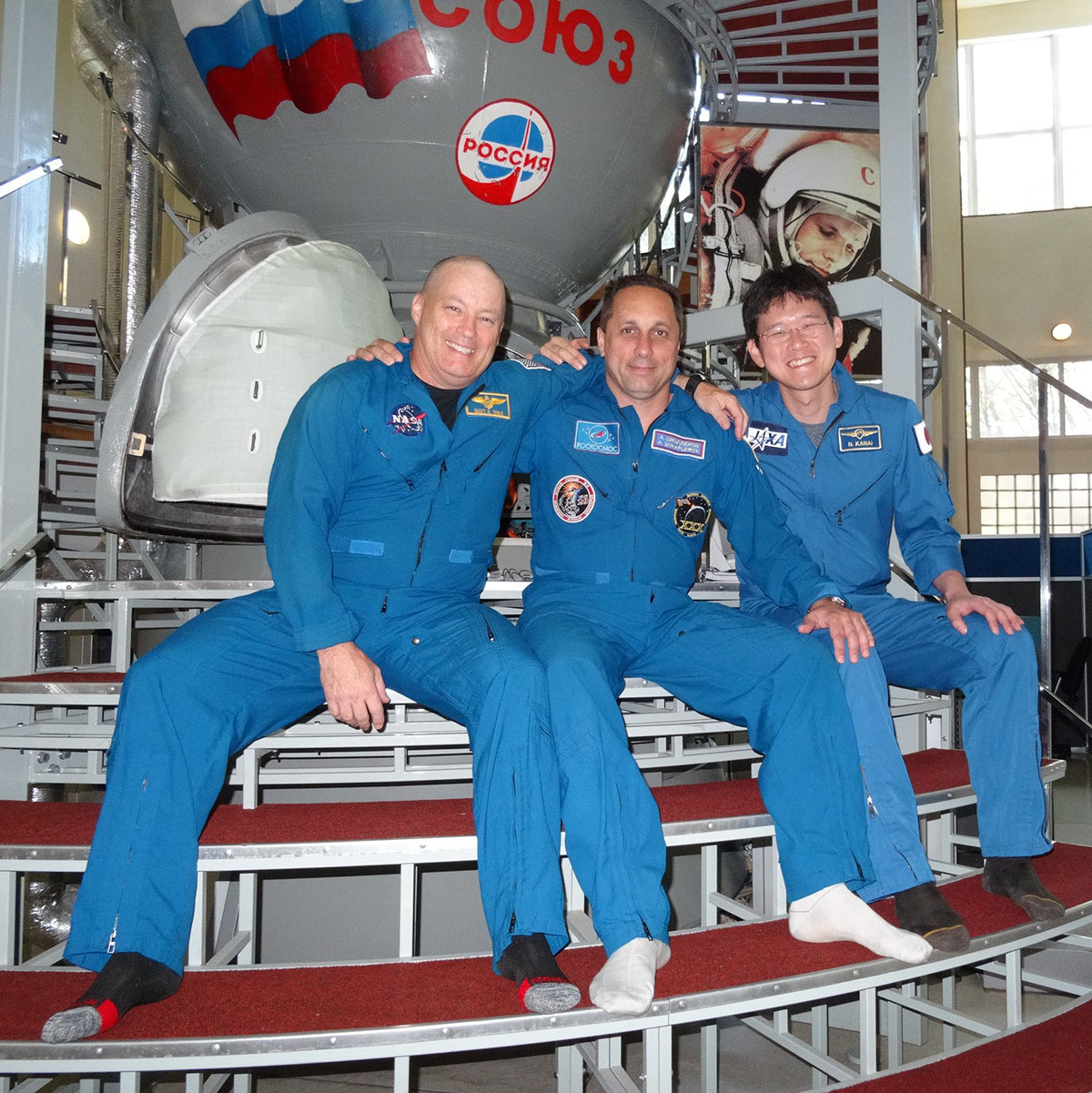 Scott Tingle in Star City, Russia, with fellow Expedition 54 crew members Anton Shkaplerov and Norishige Kanai.<br> Photo Credit: Scott Tingle/Twitter