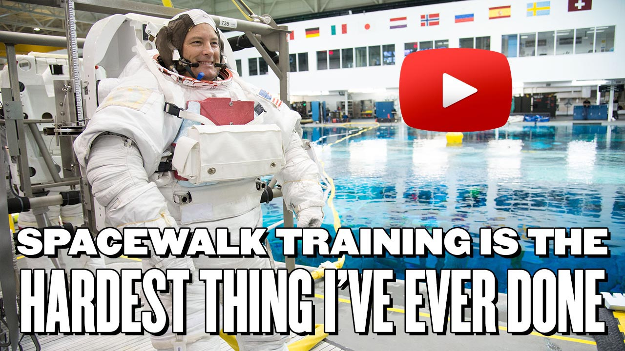 Spacewalk training is the hardest thing I've ever Done with Play button on image