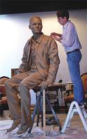 Chas Fagan working on the Armstrong sculpture