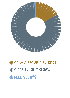 Cash & securities 17%, gifts-in-kind 82%, pledges 1%