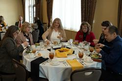 (L-R) Jackie Baumgardt, Marsha Freeland, Dawn Whitaker, Sue Bayley, Beth Holloway, and Jun Fang (PEO)