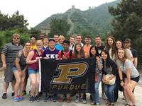 Student in front of the Great Wall
