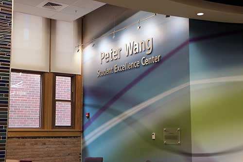 Peter Wang Student Excellence Center sign
