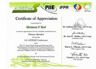 Certificate of Appreciation for Professor Shimon Y. Nof