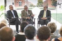 Provost Deba Dutta, NASA administrator Charles Bolden and Abhijit Deshmukh, head of the School of Industrial Engineering