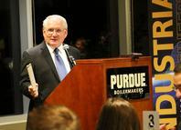 Alumnus Dennis Clark demonstrated a slide rule