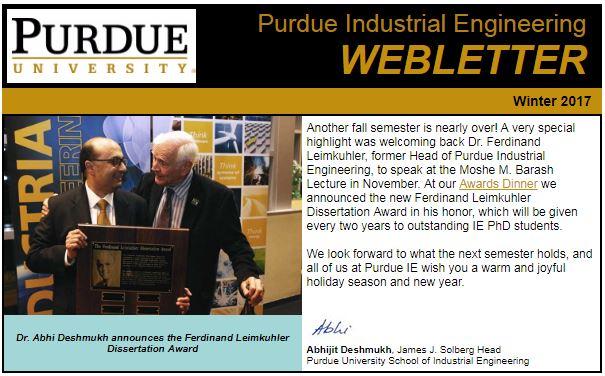 Winter 2017 Ie Webletter School Of Industrial Engineering Purdue University