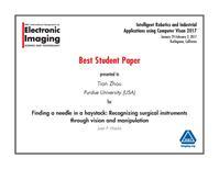 Photo of IRIACV Best Student Paper award