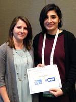 Photo of Sara Shashaani receiving 2016 INFORMS WSC Best Paper Award