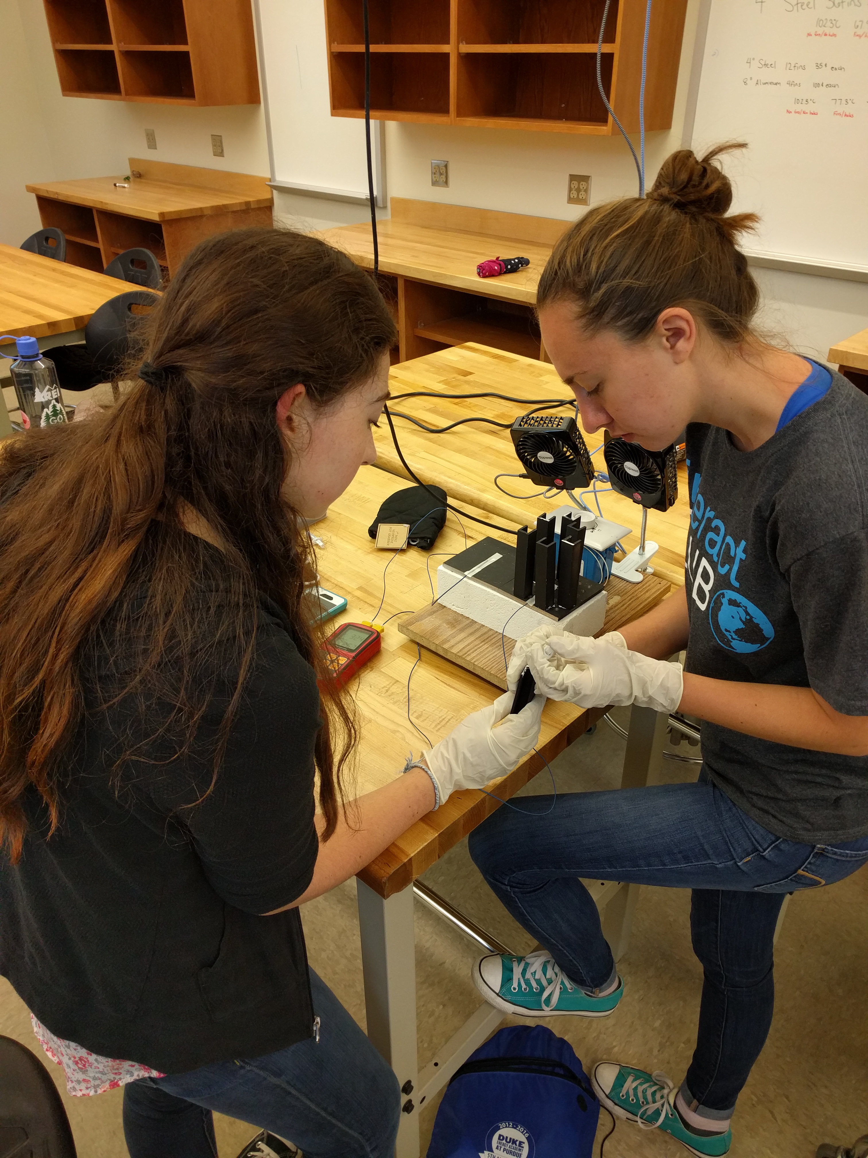 A team of students sets up their heat sink