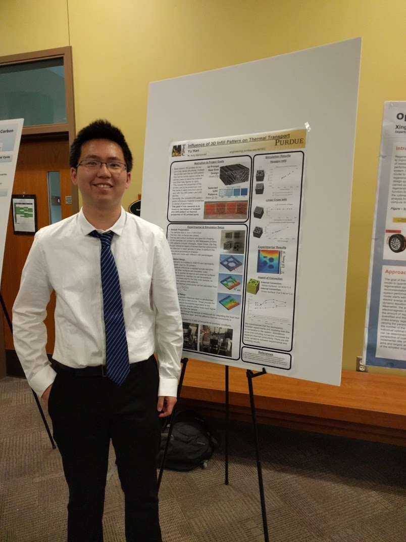 Yu Han with his poster on 3D Printed Structure