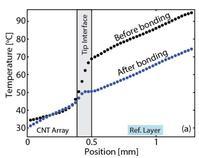 CNT tip interface temperature drop