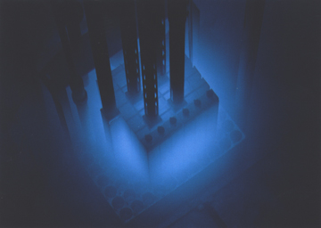 An image of the reactor when it is active with a blue glow