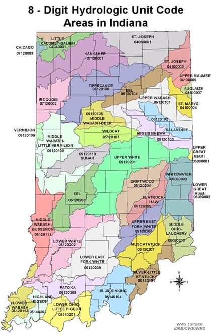 Indiana 8 Digit Watershed Areas  Purdue University