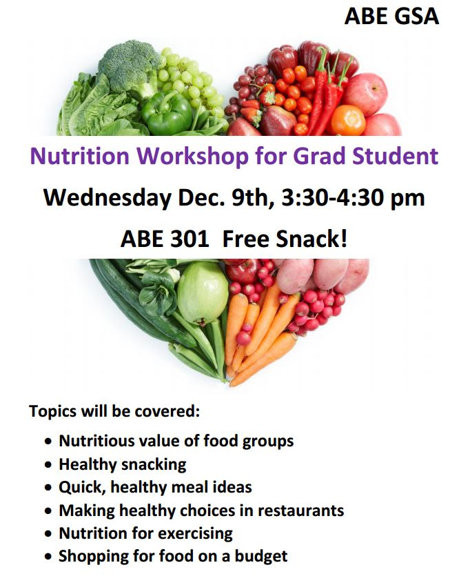 nutrition workshop coming to abe abe graduate student association