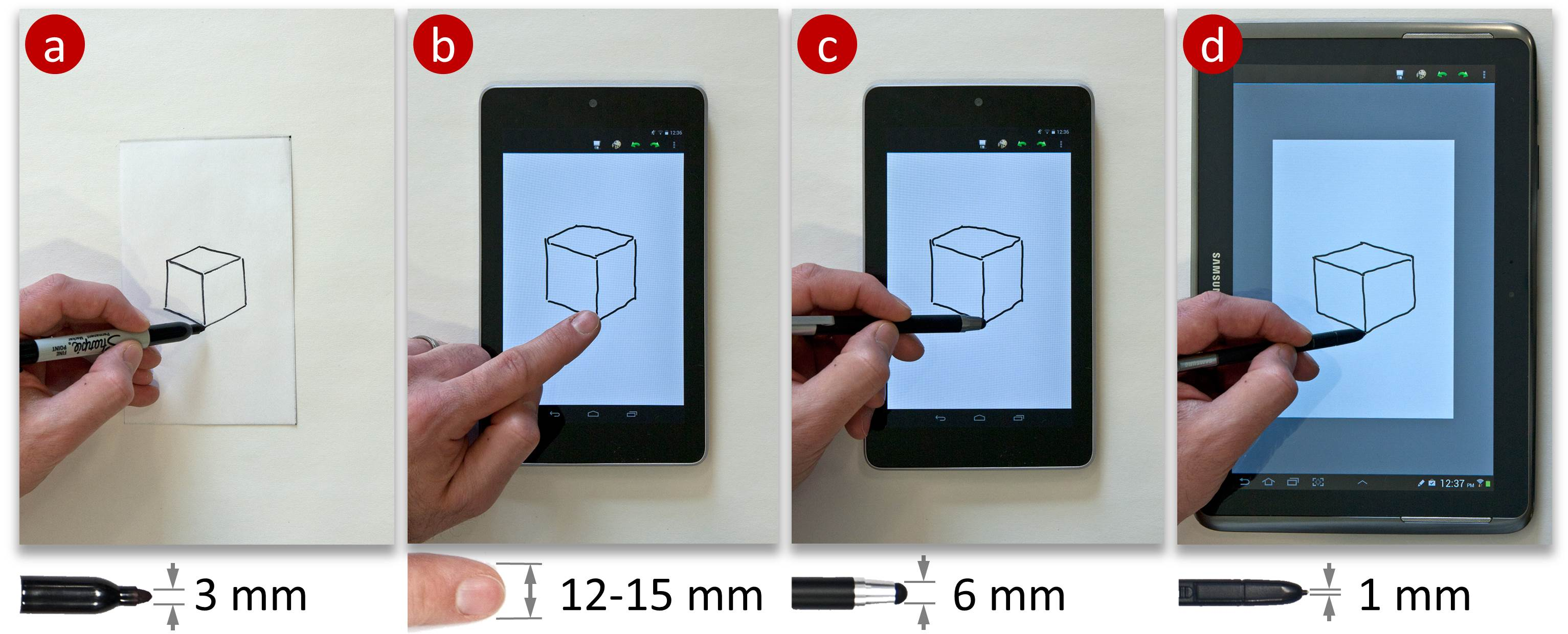 Tracing and Sketching Performance using Blunt-tipped Styli on Direct-Touch Tablets